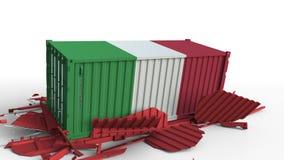 Το εμπορευματοκιβώτιο με τη σημαία της Ιταλίας σπάζει το εμπορευματοκιβώτιο φορτίου με τη σημαία της Κίνας Εμπορικός πόλεμος ή οι φιλμ μικρού μήκους