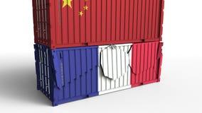 Το εμπορευματοκιβώτιο με τη σημαία της Κίνας σπάζει το εμπορευματοκιβώτιο φορτίου με τη σημαία της Γαλλίας Εμπορικός πόλεμος ή οι διανυσματική απεικόνιση