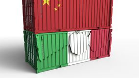 Το εμπορευματοκιβώτιο με τη σημαία της Κίνας σπάζει το εμπορευματοκιβώτιο φορτίου με τη σημαία της Ιταλίας Εμπορικός πόλεμος ή οι διανυσματική απεικόνιση