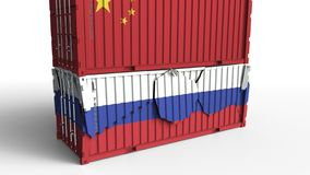 Το εμπορευματοκιβώτιο με τη σημαία της Κίνας σπάζει το εμπορευματοκιβώτιο φορτίου με τη σημαία της Ρωσίας Εμπορικός πόλεμος ή οικ διανυσματική απεικόνιση