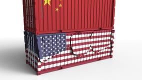 Το εμπορευματοκιβώτιο με τη σημαία της Κίνας σπάζει το εμπορευματοκιβώτιο φορτίου με σημαία των Ηνωμένων Πολιτειών Εμπορικός πόλε διανυσματική απεικόνιση