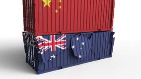 Το εμπορευματοκιβώτιο με τη σημαία της Κίνας σπάζει το εμπορευματοκιβώτιο φορτίου με τη σημαία της Αυστραλίας Εμπορικός πόλεμος ή απεικόνιση αποθεμάτων