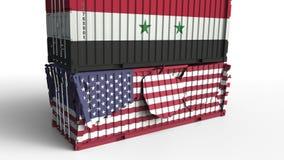 Το εμπορευματοκιβώτιο με τη σημαία της Συρίας σπάζει το εμπορευματοκιβώτιο φορτίου με σημαία των Ηνωμένων Πολιτειών Εμπορικός πόλ διανυσματική απεικόνιση