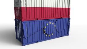 Το εμπορευματοκιβώτιο με τη σημαία της Πολωνίας σπάζει το εμπορευματοκιβώτιο φορτίου με τη σημαία της Ευρωπαϊκής Ένωσης Εμπορικός διανυσματική απεικόνιση