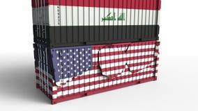 Το εμπορευματοκιβώτιο με τη σημαία του Ιράκ σπάζει το εμπορευματοκιβώτιο φορτίου με σημαία των Ηνωμένων Πολιτειών Εμπορικός πόλεμ ελεύθερη απεικόνιση δικαιώματος