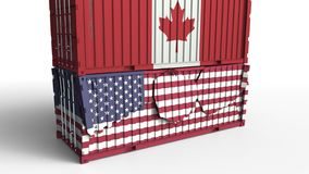 Το εμπορευματοκιβώτιο με τη σημαία του Καναδά σπάζει το εμπορευματοκιβώτιο φορτίου με σημαία των Ηνωμένων Πολιτειών Εμπορικός πόλ απεικόνιση αποθεμάτων