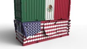 Το εμπορευματοκιβώτιο με τη σημαία του Μεξικού σπάζει το εμπορευματοκιβώτιο φορτίου με σημαία των Ηνωμένων Πολιτειών Εμπορικός πό ελεύθερη απεικόνιση δικαιώματος