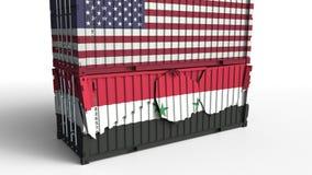 Το εμπορευματοκιβώτιο με τη σημαία των Ηνωμένων Πολιτειών σπάζει το εμπορευματοκιβώτιο φορτίου με σημαία της Συρίας Εμπορικός πόλ διανυσματική απεικόνιση