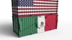 Το εμπορευματοκιβώτιο με τη σημαία των Ηνωμένων Πολιτειών σπάζει το εμπορευματοκιβώτιο φορτίου με σημαία του Μεξικού Εμπορικός πό απεικόνιση αποθεμάτων