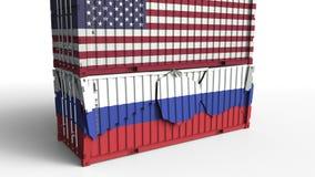 Το εμπορευματοκιβώτιο με τη σημαία των Ηνωμένων Πολιτειών σπάζει το εμπορευματοκιβώτιο φορτίου με σημαία της Ρωσίας Εμπορικός πόλ απεικόνιση αποθεμάτων