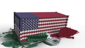 Το εμπορευματοκιβώτιο με τη σημαία των Ηνωμένων Πολιτειών σπάζει το εμπορευματοκιβώτιο φορτίου με σημαία του Μεξικού Εμπορικός πό φιλμ μικρού μήκους