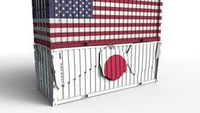 Το εμπορευματοκιβώτιο με τη σημαία των ΗΠΑ σπάζει το εμπορευματοκιβώτιο φορτίου με τη σημαία της Ιαπωνίας Εμπορικός πόλεμος ή οικ απεικόνιση αποθεμάτων