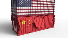 Το εμπορευματοκιβώτιο με τη σημαία των ΗΠΑ σπάζει το εμπορευματοκιβώτιο φορτίου με τη σημαία της Κίνας Εμπορικός πόλεμος ή οικονο διανυσματική απεικόνιση