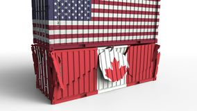 Το εμπορευματοκιβώτιο με τη σημαία των ΗΠΑ σπάζει το εμπορευματοκιβώτιο φορτίου με τη σημαία του Καναδά Εμπορικός πόλεμος ή οικον διανυσματική απεικόνιση