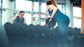 Το ευρύ πλαίσιο-νέο κορίτσι ικανότητας εκτελεί μια άσκηση με έναν αλτήρα μπροστά από έναν τεράστιο καθρέφτη απόθεμα βίντεο