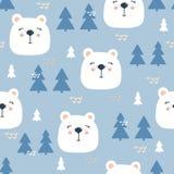 Το ζωηρόχρωμο άνευ ραφής σχέδιο με τα ρύγχη του λευκού αντέχει, μπλε fir-trees απεικόνιση αποθεμάτων