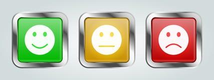 Το ζωηρόχρωμο smiley ανατροφοδοτεί τα κουμπιά διανυσματική απεικόνιση