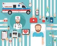 Το ιατρικό σχέδιο έννοιας ασθενοφόρων επίπεδο με το γιατρό και διανυσματική απεικόνιση