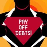 Το κείμενο γραψίματος λέξης πληρώνει μακριά τα χρέη Η επιχειρησιακή έννοια για την πληρωμή για το πράγμα εσείς έχει στις επενδύσε διανυσματική απεικόνιση