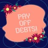 Το κείμενο γραψίματος λέξης πληρώνει μακριά τα χρέη Η επιχειρησιακή έννοια για την πληρωμή για το πράγμα εσείς έχει στις επενδύσε ελεύθερη απεικόνιση δικαιώματος