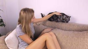 Το κορίτσι κάθεται στον καναπέ και κτυπά μια γάτα φιλμ μικρού μήκους