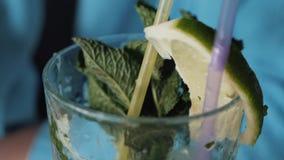 Το κορίτσι πίνει το οινοπνευματώδες ποτό mojito με τη μέντα και τον ασβέστη Κινηματογράφηση σε πρώτο πλάνο ενός γυαλιού με το moj απόθεμα βίντεο
