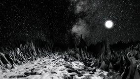 Το κοσμικό, μονοχρωματικό τοπίο, περιβάλλον του δύσκολου πλανήτη, απαρίθμησε την ανακούφιση επιφάνειας, έννοια επιστημονικής φαντ απεικόνιση αποθεμάτων