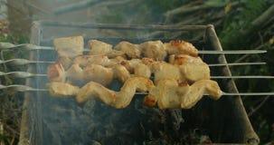 Το κρέας είναι τηγανισμένο στο κάψιμο των ανθράκων φιλμ μικρού μήκους