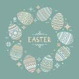 Το κυκλικό πρότυπο με τη θέση για το κείμενο των ζωηρόχρωμων διανυσματικών επίπεδων εικονιδίων αυγών Πάσχας που χρωματίζονται στο διανυσματική απεικόνιση
