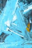 Το μπλε χρώμα στραγγίζεται σε μια μεγάλη ουρά στον τοίχο τσιμέντου, αφηρημένο ύφος ελεύθερη απεικόνιση δικαιώματος