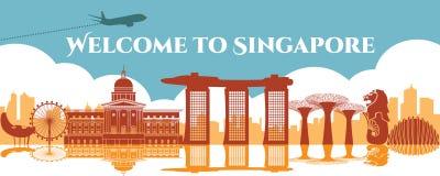 Το ορόσημο Amous της Σιγκαπούρης, ο προορισμός ταξιδιού, το σχέδιο σκιαγραφιών, το μπλε και το πορτοκάλι χρωματίζουν απεικόνιση αποθεμάτων