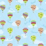 Το διανυσματικό ταξίδι μπαλονιών ζεστού αέρα επαναλαμβάνει το σχέδιο στοκ εικόνες