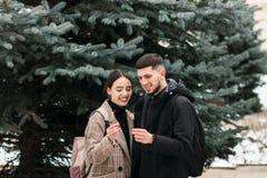 Το ρομαντικό νέο ζεύγος έχει τη διασκέδαση υπαίθρια το χειμώνα πριν από τα Χριστούγεννα με τα φω'τα της Βεγγάλης στοκ φωτογραφία με δικαίωμα ελεύθερης χρήσης