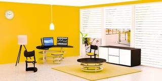 Το σύγχρονο εσωτερικό δωματίων εργασίας, μαύρος υπολογιστής γραφείου 3 έβαλε σε έναν πίνακα γυαλιού μπροστά από τον κίτρινο τοίχο απεικόνιση αποθεμάτων