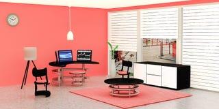 Το σύγχρονο εσωτερικό δωματίων εργασίας, μαύρος υπολογιστής γραφείου 3 έβαλε σε έναν πίνακα γυαλιού μπροστά από τον πορτοκαλή τοί απεικόνιση αποθεμάτων