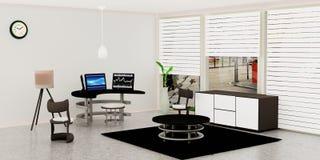Το σύγχρονο εσωτερικό δωματίων εργασίας, μαύρος υπολογιστής γραφείου 3 έβαλε σε έναν πίνακα γυαλιού μπροστά από τον άσπρο τοίχο ελεύθερη απεικόνιση δικαιώματος