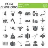 Το σύνολο αγροτικών glyph εικονιδίων, συλλογή συμβόλων γεωργίας, διανυσματικά σκίτσα, απεικονίσεις λογότυπων, κηπουρική υπογράφει ελεύθερη απεικόνιση δικαιώματος