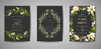 Το σύνολο γαμήλιας πρόσκλησης, floral σας προσκαλεί, ευχαριστεί, rsvp αγροτικό σχέδιο καρτών με τη χρυσή διακόσμηση φύλλων αλουμι απεικόνιση αποθεμάτων