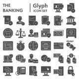 Το σύνολο εικονιδίων κατάθεσης glyph, συλλογή συμβόλων χρηματοδότησης, διανυσματικά σκίτσα, απεικονίσεις λογότυπων, εμπόριο υπογρ απεικόνιση αποθεμάτων