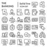 Το σύνολο εικονιδίων τραπεζικών γραμμών, συλλογή συμβόλων χρηματοδότησης, διανυσματικά σκίτσα, απεικονίσεις λογότυπων, εμπόριο υπ ελεύθερη απεικόνιση δικαιώματος