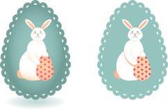 Το σύνολο δύο εικόνων του λαγουδάκι Πάσχας και το αυγό με την Πόλκα διαστίζουν το σχέδιο διανυσματική απεικόνιση