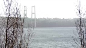 Το Τακόμα στενεύει τη γέφυρα στην γκρίζες misty ομίχλη και τη βροχή απόθεμα βίντεο