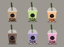 Το τσάι γάλακτος φυσαλίδων Το μαύρο τσάι γάλακτος μαργαριταριών είναι διάσημο ποτό πολλοί διάνυσμα φλυτζανιών διανυσματική απεικόνιση