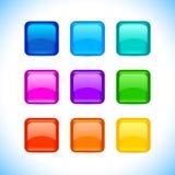 Το χρωματισμένο μπερδεμένο κενό στρογγύλεψε τα κουμπιά τετραγώνων με το χρώμα και την αντανάκλαση στα άσπρα εικονίδια καθορισμένα διανυσματική απεικόνιση