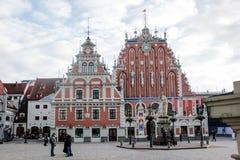 Το παγκοσμίως διάσημο σπίτι των σπυρακιών στην παλαιά πόλη της Ρήγας, Λετονία στοκ εικόνες