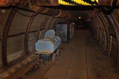 Το παλαιά βαγόνι εμπορευμάτων τουαλετών και το ορυχείο μετάλλων εκπαιδεύουν στη σήραγγα ορυχείων με τον ξύλινο εφοδιασμό με ξύλα στοκ φωτογραφία με δικαίωμα ελεύθερης χρήσης