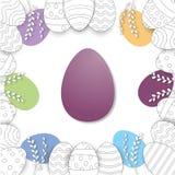 Το πλαίσιο Πάσχας με τα αυγά Πάσχας δίνει επισυμένος την προσοχή στο άσπρο υπόβαθρο διανυσματική απεικόνιση
