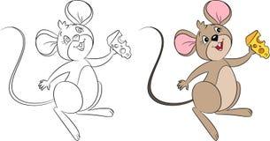 Το Kawaii πριν από και afer η απεικόνιση ενός μικρού ποντικιού που κρατά ένα κομμάτι του τυριού, τελειοποιούν για το βιβλίο χρωμα ελεύθερη απεικόνιση δικαιώματος