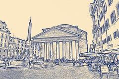 Το Pantheon ένας πρώην ρωμαϊκός ναός, τώρα μια εκκλησία, στη Ρώμη, Ιταλία ελεύθερη απεικόνιση δικαιώματος