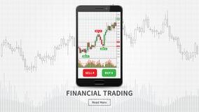 Το Smartphone με το οικονομικό εμπόριο σχεδιάζει τη διανυσματική απεικόνιση ελεύθερη απεικόνιση δικαιώματος